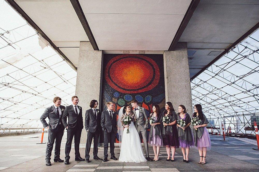 Wedding Party under the Academic Quadrangle at SFU