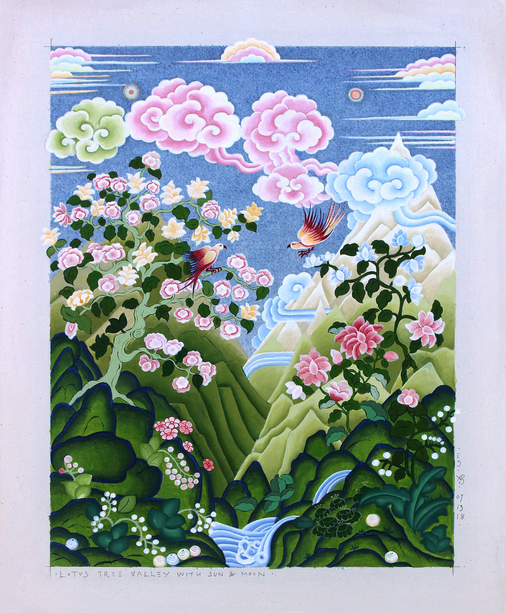 Eva Schicker , Lotus Tree Valley With Sun & Moon, 2018.  Acrylic, pencil, glue, on framed cotton canvas  As a painter, I have a profound interest in the Asian tradition of Thangka painting. This technique has enabled me to refine my style to narrative painting. My depictions of nature scenes represent the philosophy of harmony, beauty and tranquility. Through my painting, I express a poetic place of comfort. Rocks, clouds, water, trees, flowers and animals are featured prominently in Thangka painting. Each element expresses a property that follows us through life. Rocks symbolize the steadfastness, clouds depict the air and the spirit of life, water symbolizes life's abundance, and nature shows us the interdependence of all beings.