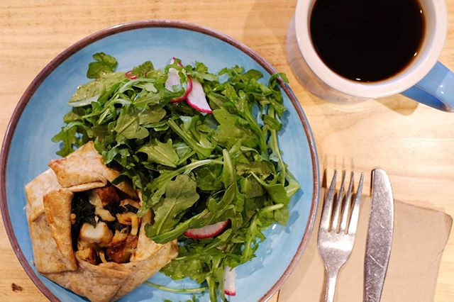 Savory Crostata filled with roasted chiles, sweet potato and bacon crumble served with a simple salad!