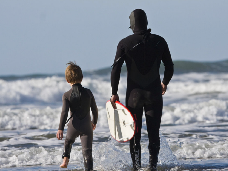 "Father and Son Surf Lesson in Morro Bay, California (Wikicommons, ""Mike"" Michael L. Baird)"