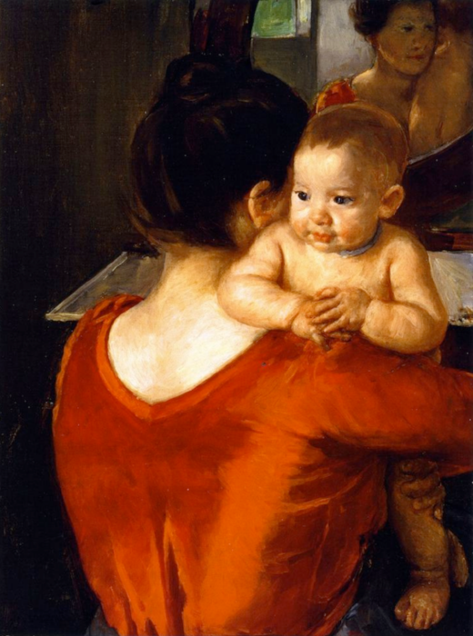 Woman in Red Bodice with Her Child, Mary Cassatt, 1901 (Wikicommons)