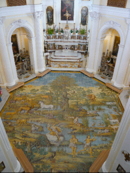 The painted floor at St. Michael (Wikicommon, Fotoeweb.it)