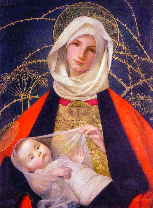 Madonna and Child, Marianne Stokes (Wikicommons, Wolverhampton Gallery)