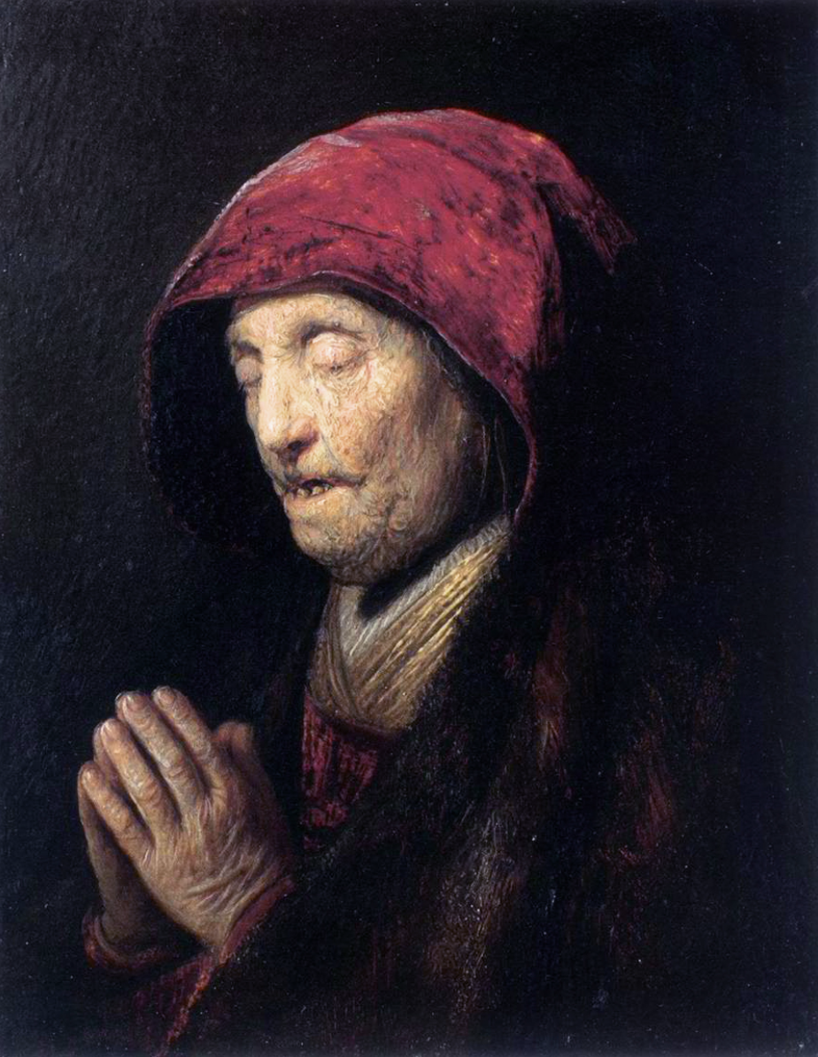 Rembrandt,  Old Woman Praying , 1629 (Wikicommons, Residentzgalerie)