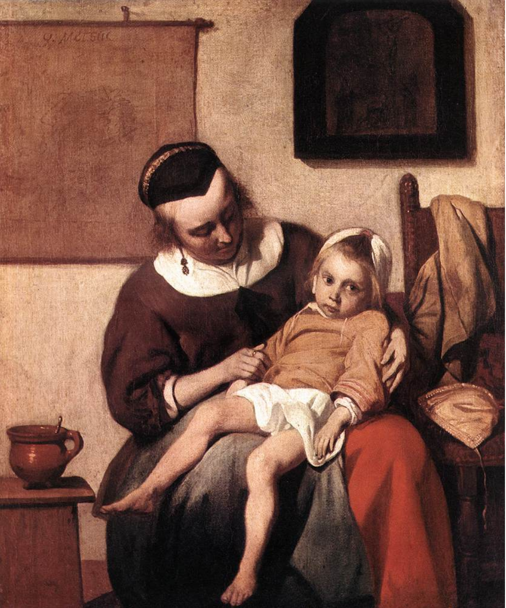 Gabriel Metsu,  The Sick Child , circa 1660 (Wikicommons, Rijksmuseum)