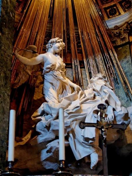 Bernini, Ecstasy of St. Teresa, Santa Maria della Vittoria, Rome, 1652, Cardinal Federico Cornaro (Wiki Commons)