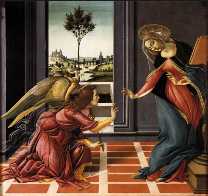 The Cestello Annunciation, Sandro Botticelli, Uffizi Gallery, Florence, Italy (Wikicommons)