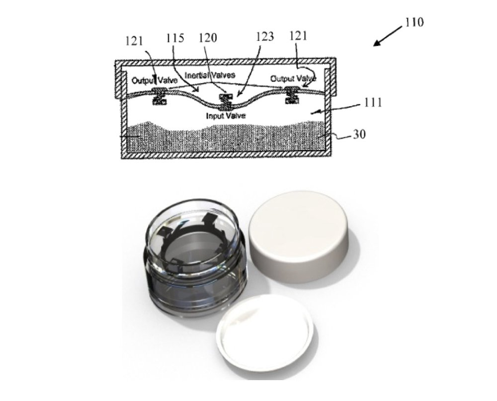 Consumer Products    NEED : A cosmetic package for powder products that do not spill.    SOLUTION : Patent 9,247,799