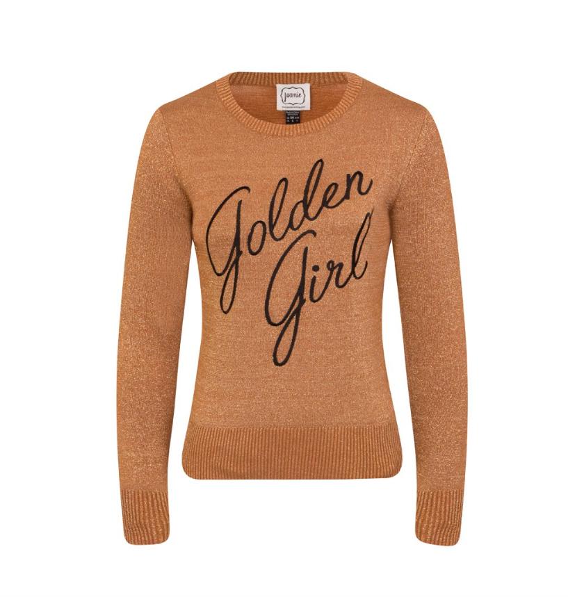 - Joanie Clothing Vega Golden Girl Slogan Jumper