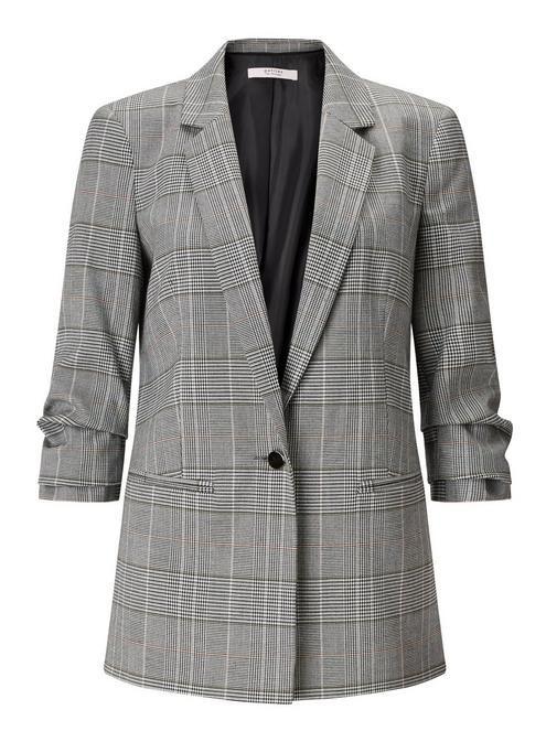 - Miss Selfridge Petitie Ruched Sleeve Checked Blazer
