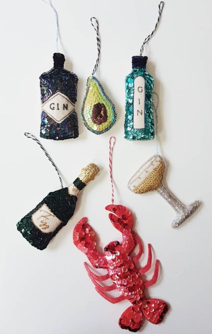 CHRISTMAS BOMBAY GIN HANDMADE SEQUINEDHANGING ORNAMENT - Kate Gwilliam embroiders custom designs & monogramming in Welwyn Garden City.These sweet hanging ornaments are perfect for hanging on the tree this Christmas. Hand stitched onto wool felt with a mix of blue and turquoise toned sequins this is a perfect gift for a Gin Lover at Christmas. See the full range over on Kate's Etsy page below.