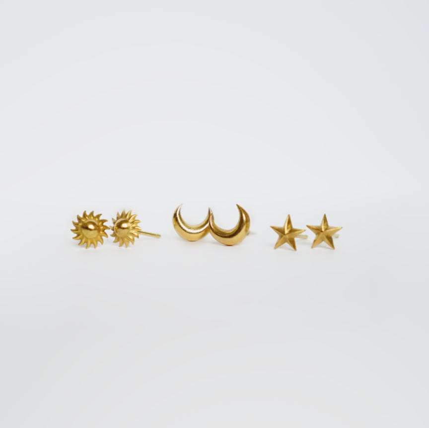 CELESTIAL STUDS SET - Founder Sophie Hutchinson makes all her jewellery in the renowned Hatton Garden in London. Inspired by nature, texture and travel these delicate and timeless pieces of jewellery are created in precious metals, paying particular attention to detail when it comes to design.Add a little touch of whimsical magic to your ears with these Celestial Studs. Wear alone or mix and match with other earrings already in your collection.