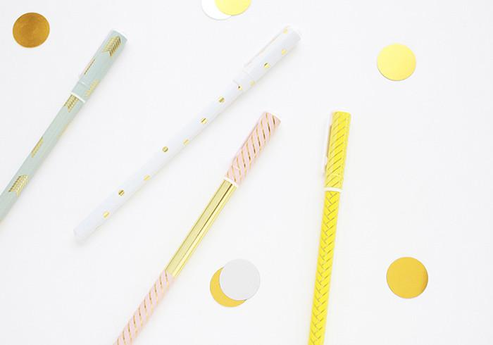 LIVEWORK GOLD PATTERN PENS - Based in Edinburgh, UK, Fox and Star is an online indie stationery shop. Run by a small team of stationery fans, Fox and Star brings you the coolest stationery from around the globe. They specialise in unique planners, notebooks and pens. They also champion the bits and bobs that make studying, working and playing extra fun like cute stickers, paper clips, deco pens and sticky notesay hello to your new favourite pen.Livework's super fancy gold patterned ball pens are the easiest way to add a little sparkle to your day. With black ink and a thin casing, these pretty ballpoint pens are the easiest way to add a little luxe to your workspace. Each ball pen has a chic design with varying patterns and gleaming gold accents. With gold stripes, dots, triangles and lots of other gorgeous designs, these Livework gold pattern pens would make a sweet treat for your pencil case or a cute gift for a friend.