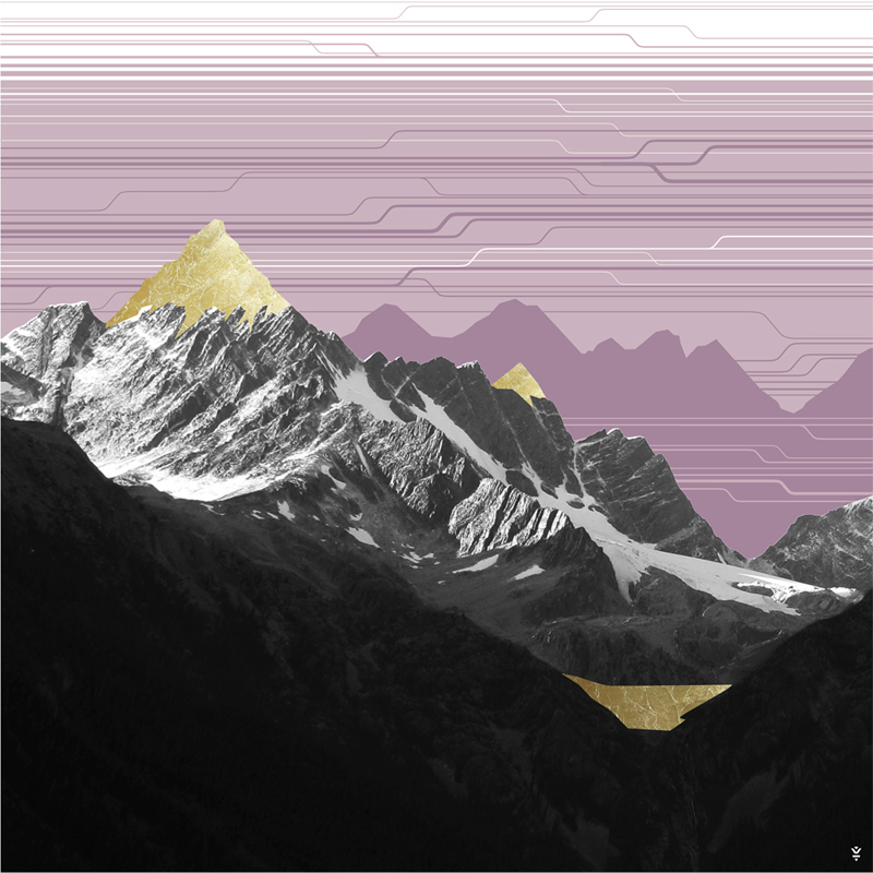 GOLD IN PEAKS ARTWORK - La Shuks artwork itself explores an imagined alternate future, using a collage of landscape photography, blended and warped into a fantasy reality with a kaleidescope of drawn details and patterns of wind currents, rivers and formations of species... the relics of long gone human days, gradually woven into the natural elements, and become part of a new evolution of nature.Gold In Peaks is La Shuks largest artwork to date, a fabulous gift for any art/travel lover. The photography was taken in the rocky mountains of Canada and isa hand made silkscreen print, finished with a gold leaf mountaintop and lake.