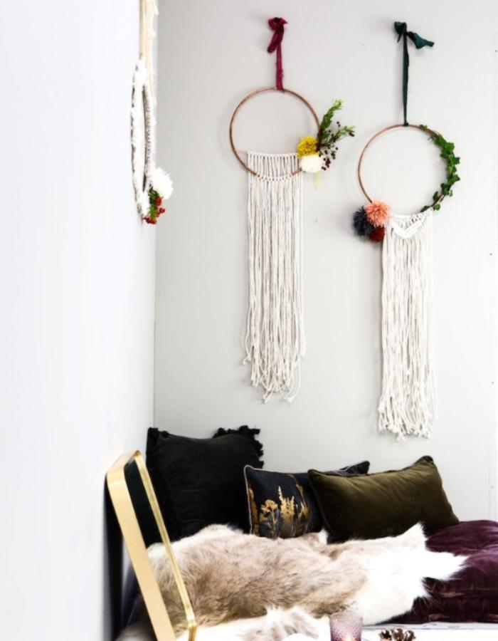 HANDMADE MACRAME WREATH WITH POM POM - The Forest & Co. is an online company, based in Devon, who look for beautiful things for the home, to wear and for children, which feel different and special. They want their products to bring out the individual in you and hope that you will find something that you will simply love and keep for ever.This gorgeous white hand made macrame wreath with wool pom pom's, bring's a touch of boho to any home this Christmas.