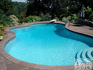 A nicely made swimming pool in a small backyard