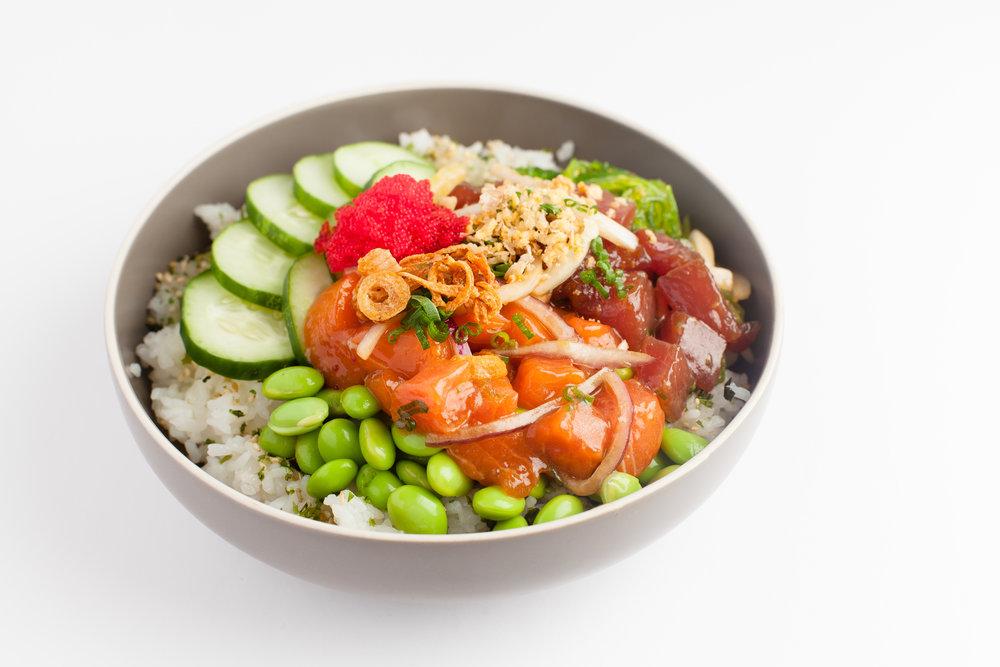 Classic Hawaiian  Marinated Tuna, Marinated Salmon, cucumber, scallions, edamame, seaweed salad, furikake, sesame shoyu, tobiko, onion crisp $11.95 - cal 568