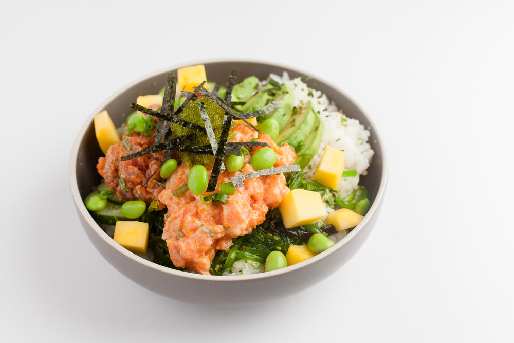 Let's Poké  Spicy tuna, Spicy Salmon, edamame, mango, seaweed salad, avocado, furikake, sriracha aioli, masago, scallion, garlic crisp $12.95 - cal 626
