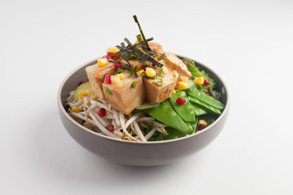 Tofu-Licious  Sesame ginger tofu, avocado, cucumber, snow peas, bean sprouts, scallions, seaweed salad, corn, pomegranate, sesame shoyu $11.95 - cal 341