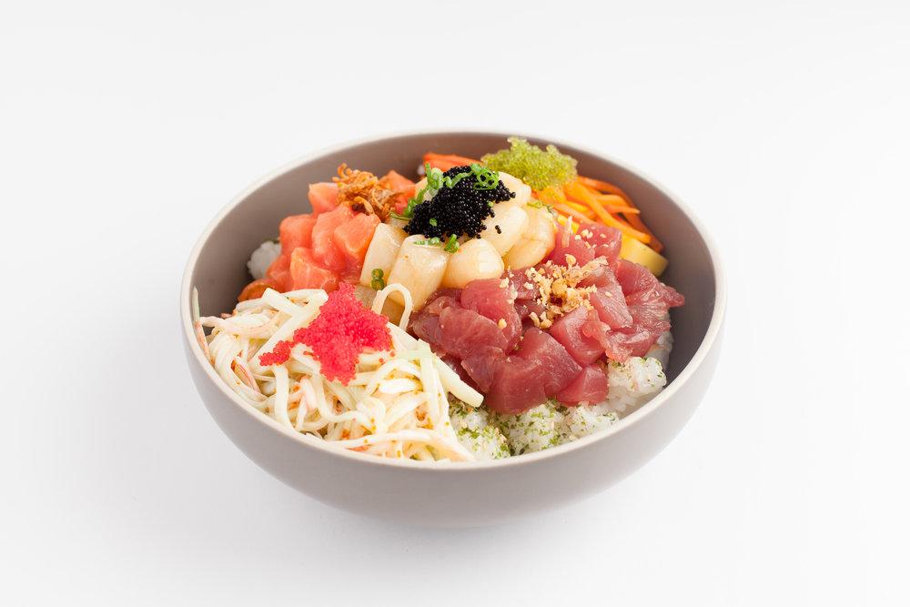 Hell's Kitchen   Tuna, salmon, scallop, scallions, mango, cucumber, onion crisps, Hawaiian ponzu, kani salad, tabiko, pickled carrot $14.95 - cal 614