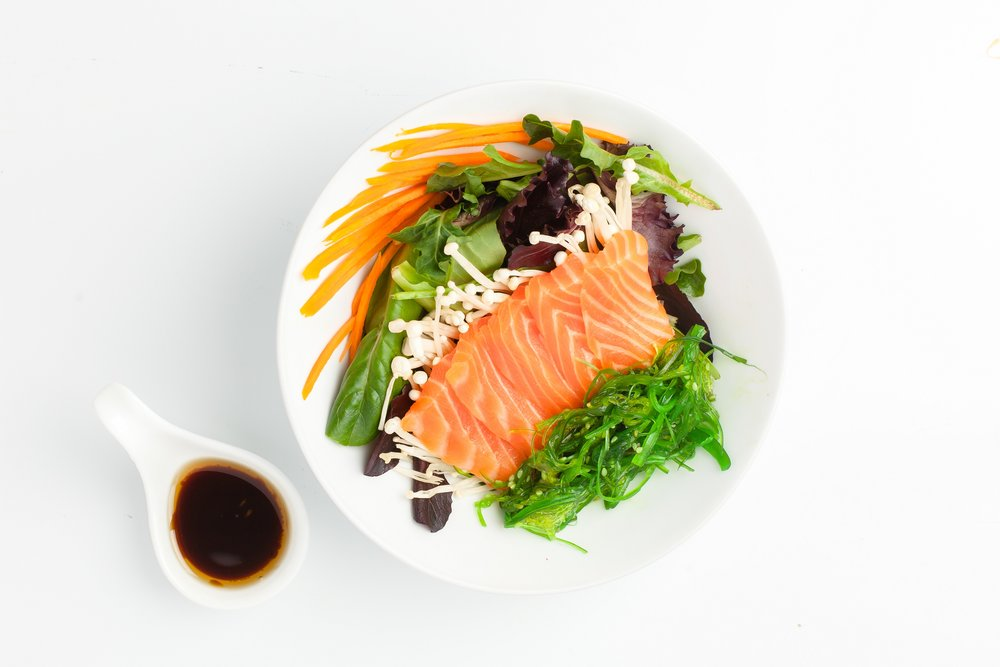 Salmon Sashimi Salad   $10.95