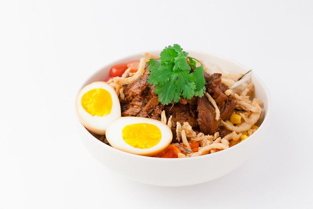 Bibimbap Beef Poké  Korean BBQ Beef with Egg $12.95 - cal 647