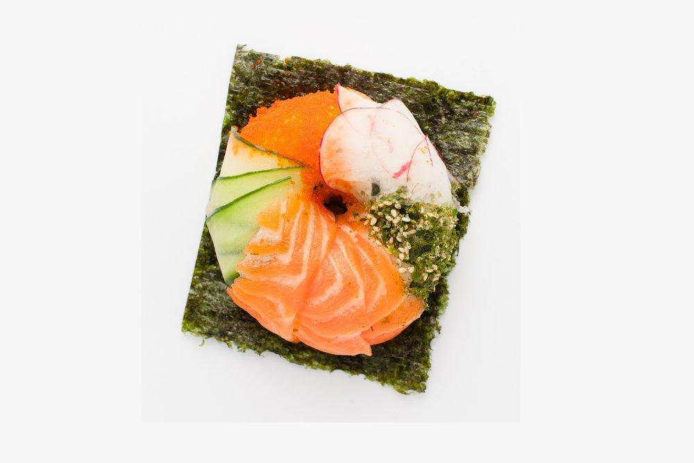 NY Sushi Bagel  Salmon, Sushi Rice, Spicy Salmon, Cream Cheese, Radish, Cucumber, Masago, Toasted Sesame $7.95
