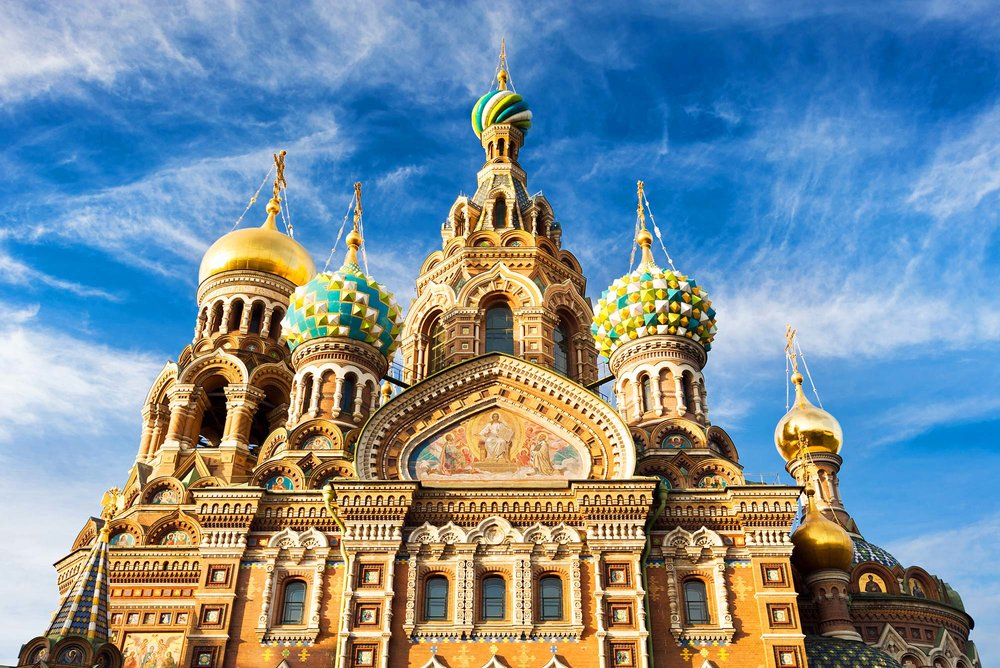 The colourful exterior of Church of the Savior on Spilled Blood, St Petersburg.
