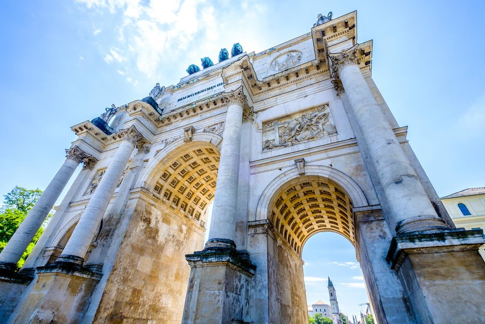 The Siegestor in Munich, a three-arched triumphal arch crowned with a statue of Bavaria.
