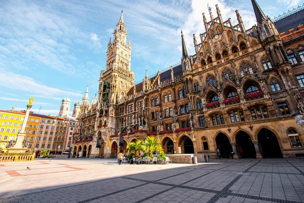 The Neue Rathaus, or New Town Hall, in Marienplatz in Munich.