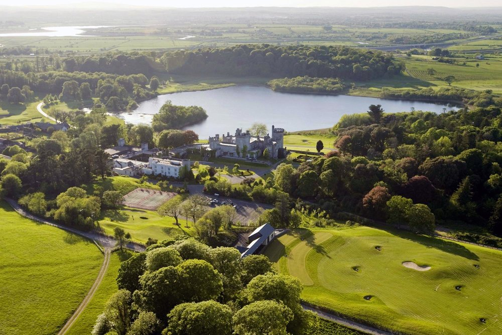 An aerial view of Dromoland Castle and its stunning grounds.