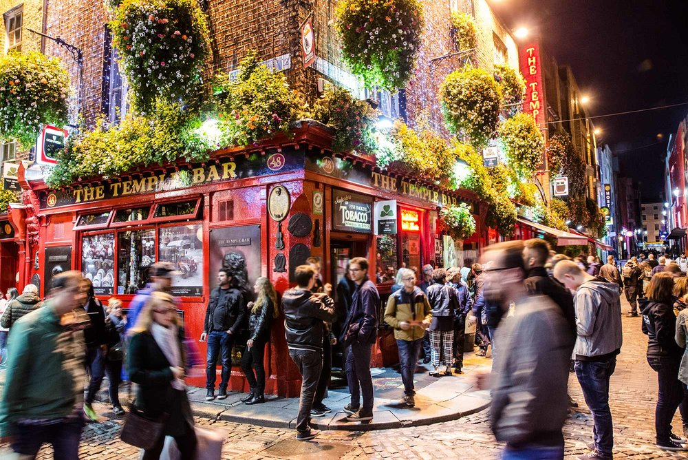 The bustling Temple Bar in the Temple Bar area of Dublin.