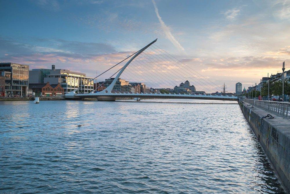 The Samuel Beckett Bridge spanning the River Liffey in Dublin.