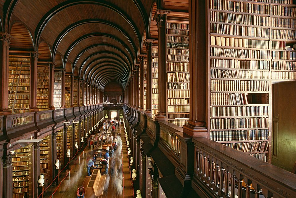 The Long Room of the Old Library at Trinity College Library, Dublin.