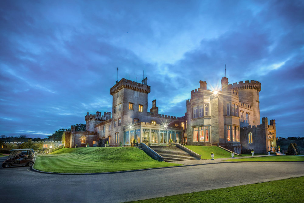 The exterior of the impressive Dromoland Castle.