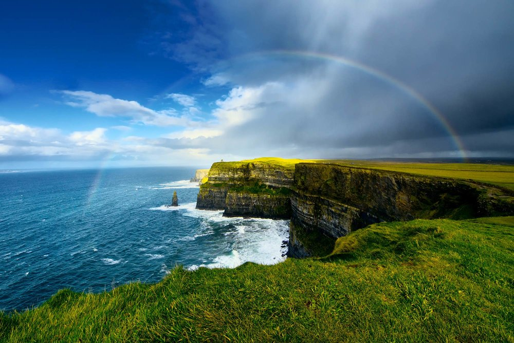 The breathtaking Cliffs of Moher and the crashing waves of the Atlantic on the Irish west coast.