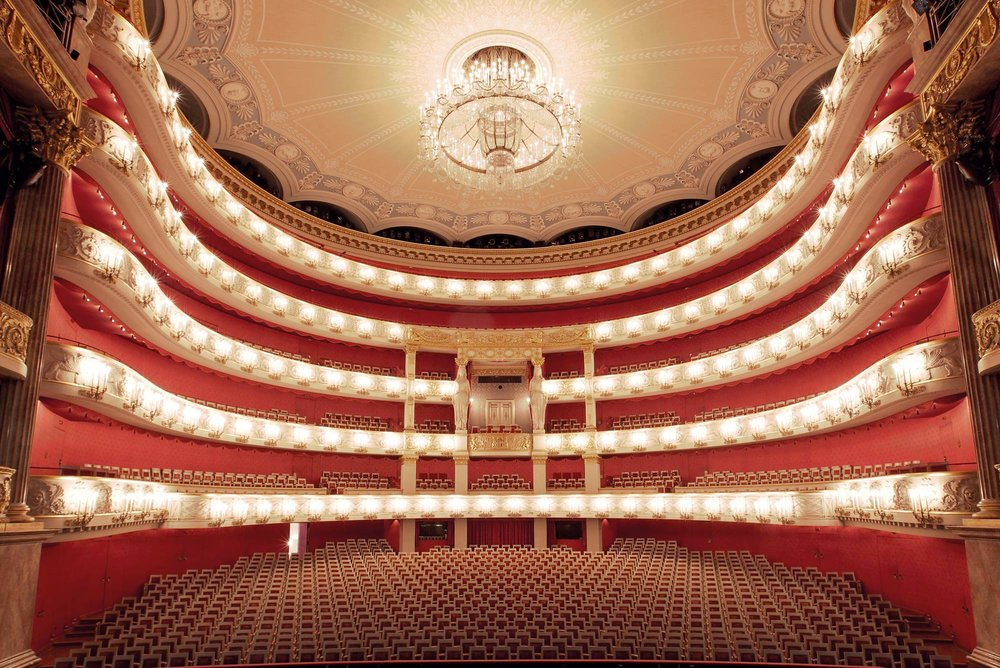 The auditorium of the stunning Bavarian State Opera in Munich, home to the Munich Opera Festival. Photo © Wilfried Hoesl