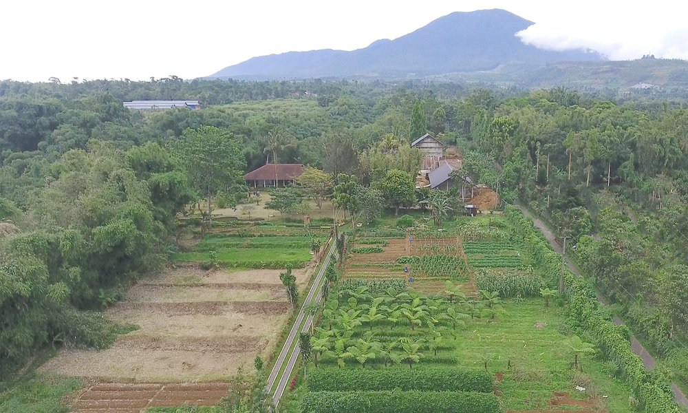 our middle of nowhere - Sukasantai is located in an organic farm on the highlands of Gunung Gede, Sukabumi, West Java, where we enjoy cool mountain air all year round.