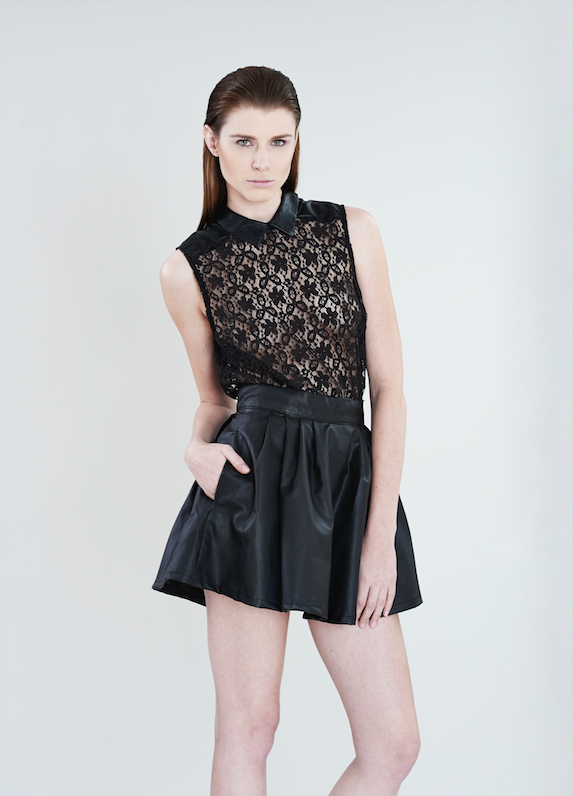 SKIRT WITH LACE TOP -