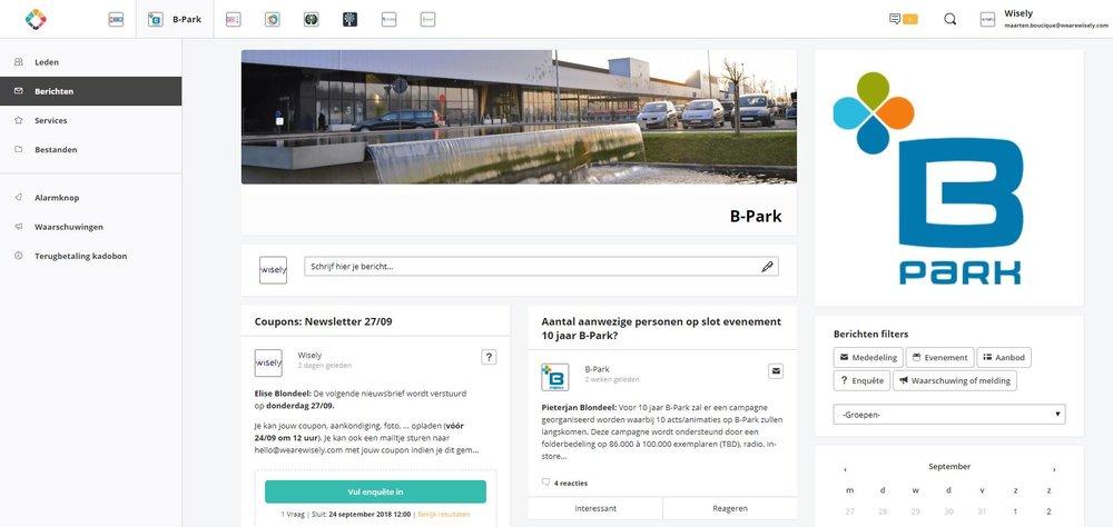 Efficiënter communiceren met de handelaars op B-Park via een interne website   #intranet #Chainels #ViaBrowserOfApp #VeelBeterDanWhatsAppGroepjes