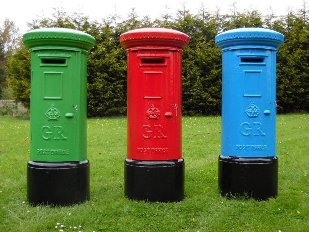 Quirky Group Colourful British Letterbox prop hire