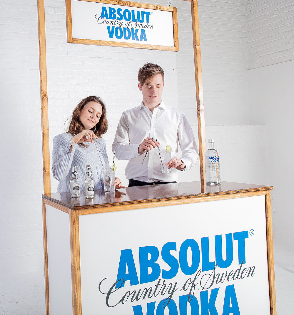Quirky Group Fully Branded Bar with Our Brand Ambassadors Serving Cocktails