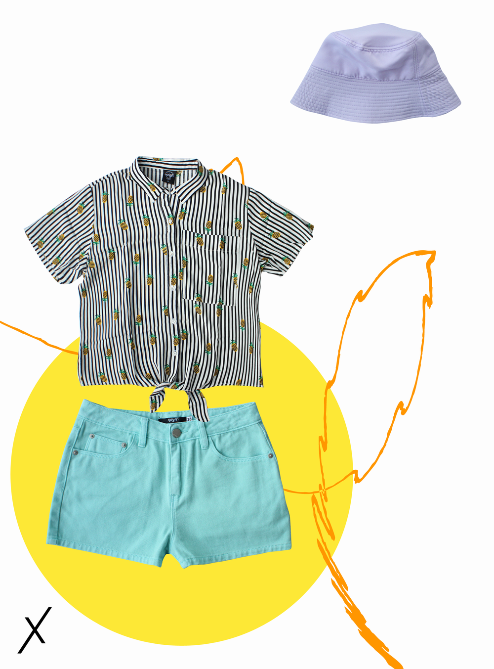 KNOTTED SHIRT (P799), OVERDYED SHORTS (P599)