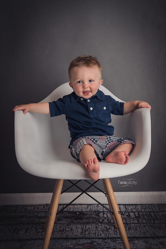 Toddler Boy Portrait in Eiffel, Eames Chair