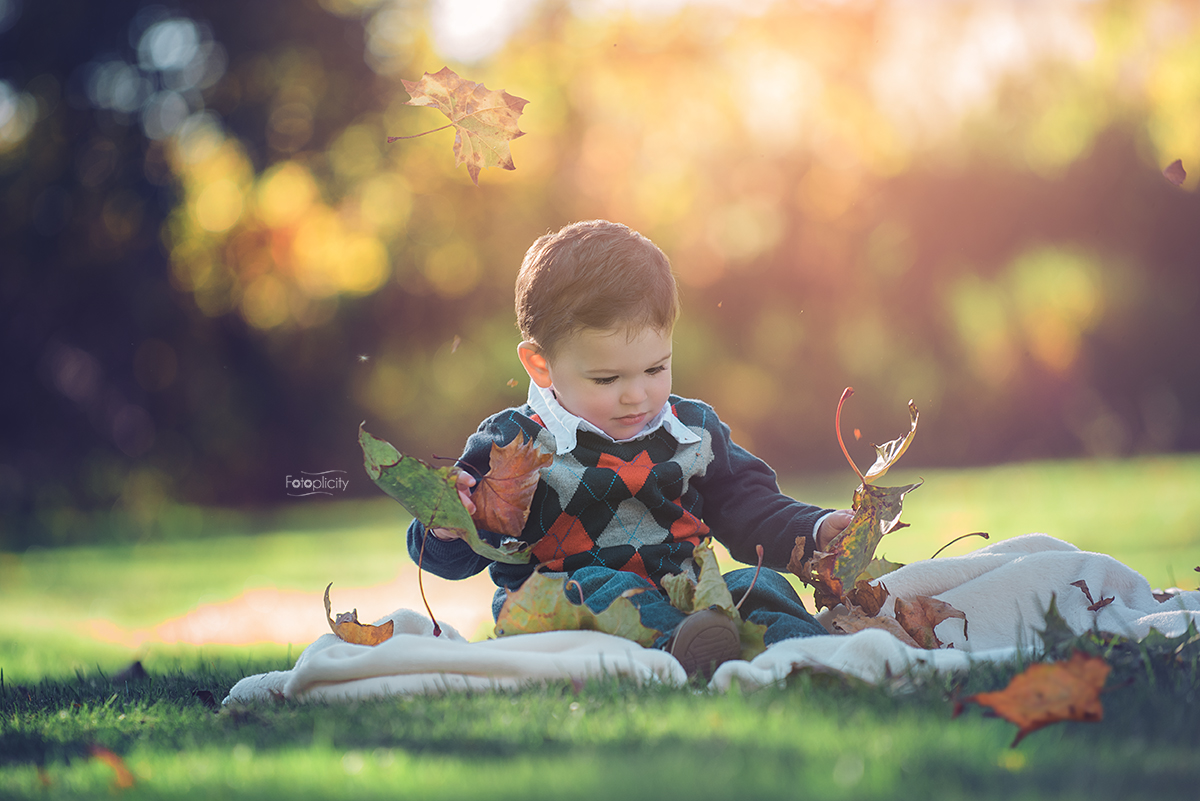 Little Boy in leaves. Fall Photo Session by Fotoplicity