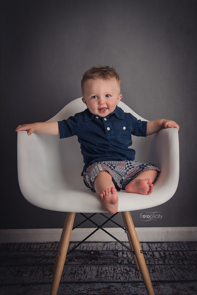 Toddler Boy Portrait in Eiffel, Eames Chair