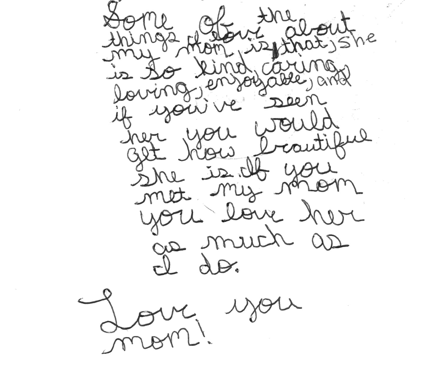 Letter to Mom from boy