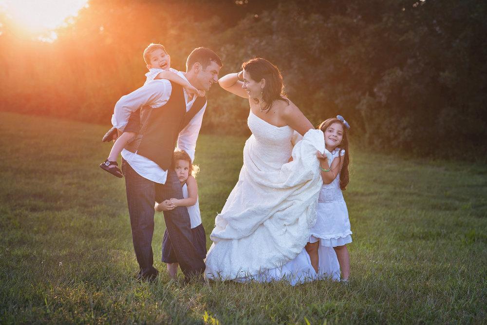 Couple with three children