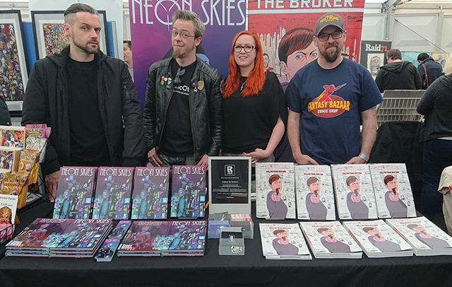 We are setup and ready to #GoRogue in the Originals Marquee at @thoughtbubblefestival drop by and say hi.  Neon Skies is now out in the wild. Itself and The Broker look gorgeous beside each other. #RogueComicsIreland #ThoughtBubble #NeonSkies #TheBroker
