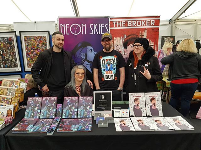 We are down to less than 10 copies of both #NeonSkies and #TheBroker at @thoughtbubblefestival Get over to @rogue_comics_ir table 27 in the Originals Marquee before they're gone! #TBF18 #ThoughtBubble2018 #GoRogue